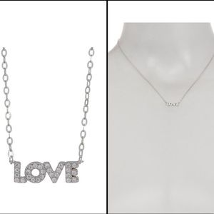 Nadri Metallic Rhodium Plate Love Pendant Necklace